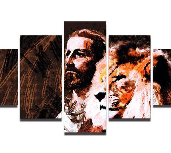 Conjunto de Quadros O Leão de Judá -Jesus Cristo – 5 Peças tela