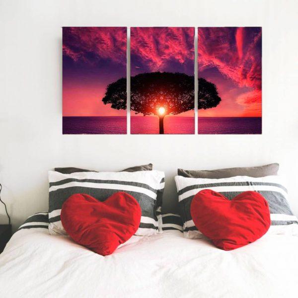 conjunto de quadro caminho florido 3 peças em tela com detalhe no quarto cor nilas