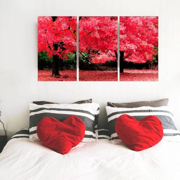conjunto de quadro caminho florido 3 peças em tela com detalhe no quarto cor vermelha