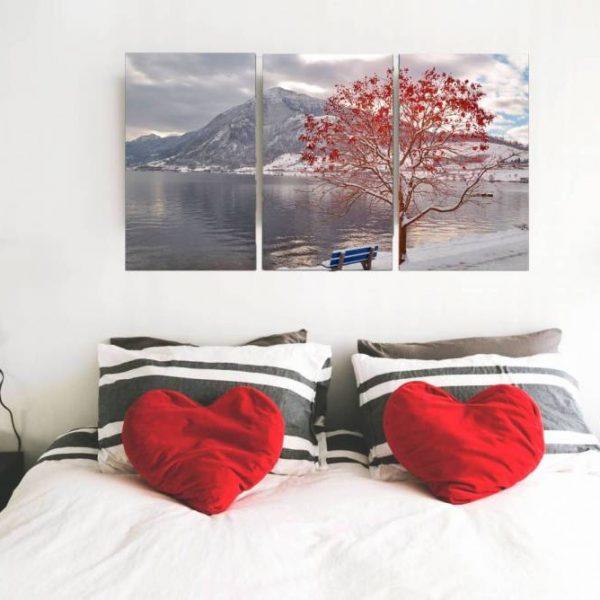 conjunto de quadro caminho florido 3 peças em tela com detalhe no quarto