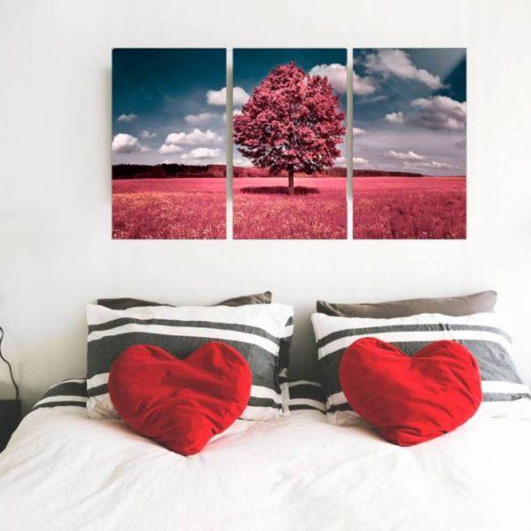 """Conjunto de Quadros """"Árvore Rose do Campo"""" – 3 Peças em tela com detalhe"""