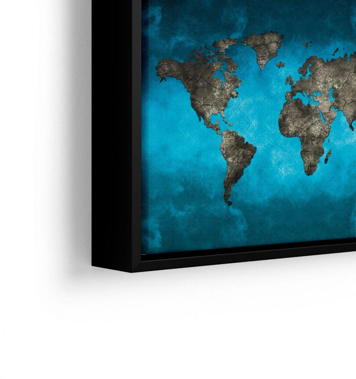 Quadro Mapa Mundi Preto e Azul em filete com detalhe a esquerda