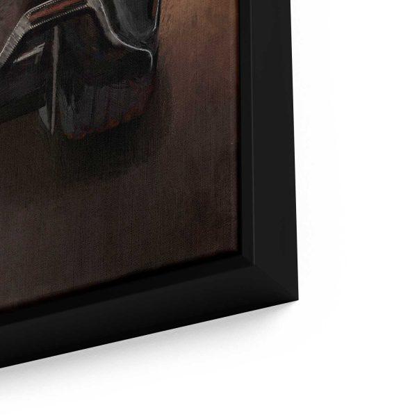 Quadro decorativo foco aproximado moldura preta em detalhe