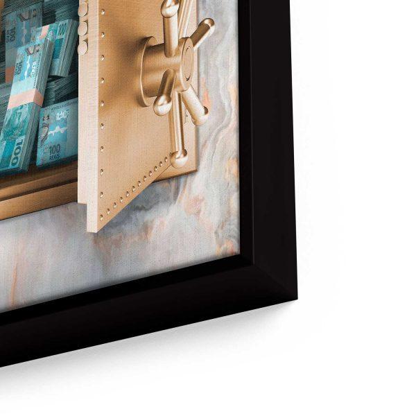 quadro decorativos quadro dinheiro detalhe de filete de frente