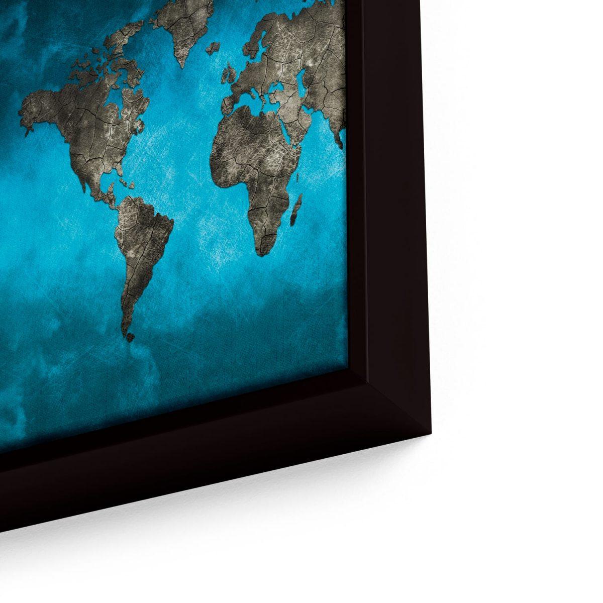 Quadro Mapa Mundi Preto e Azul em moldura com detalhe a direita