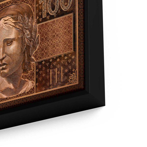 Quadro 100 reais em Bronze em filete com detalhe a direita
