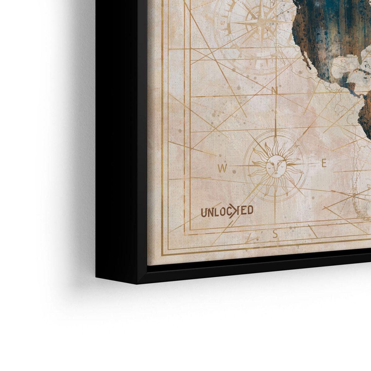 Quadro Mapa Meridiano em detalhe com filete