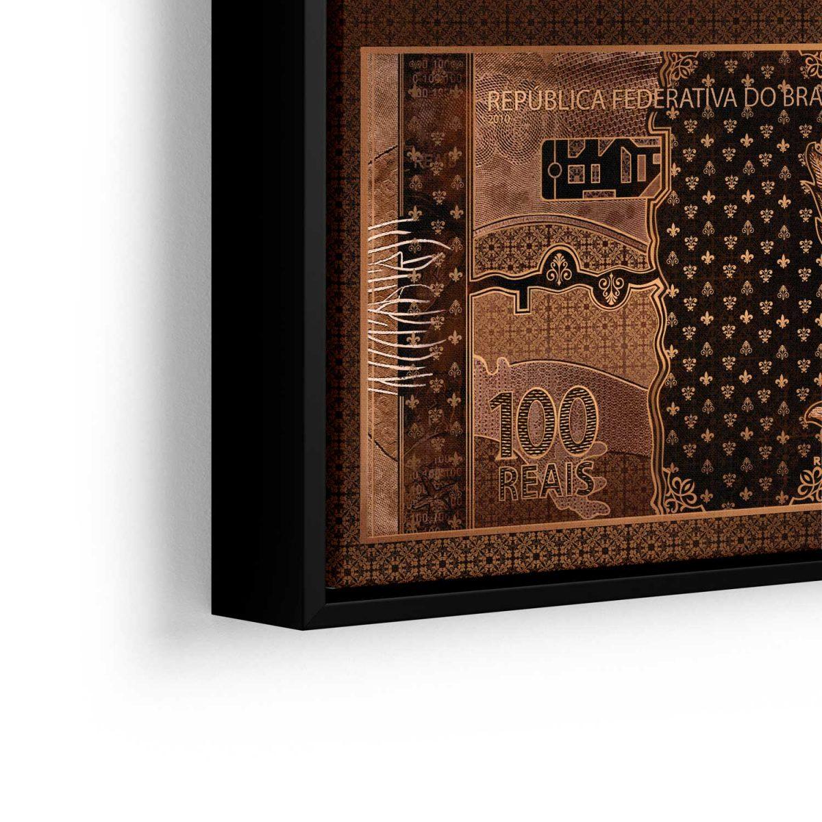Quadro 100 reais em Bronze em filete com detalhe a esquerda