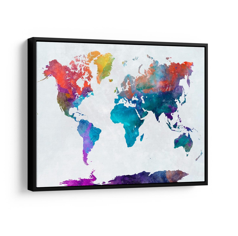 Quadros Mapa Mundi Colorido
