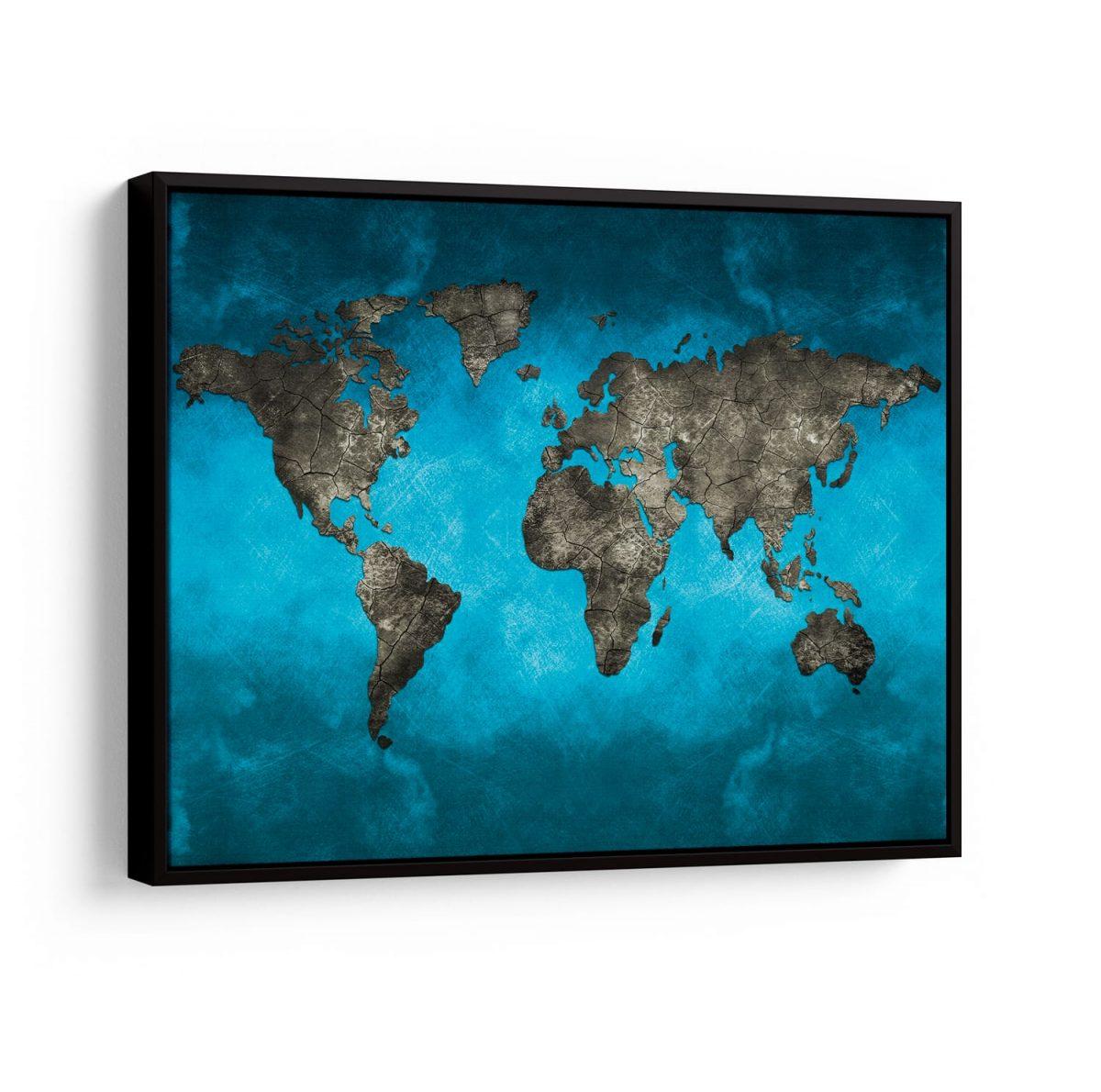 Quadro Mapa Mundi Preto e Azul em filete