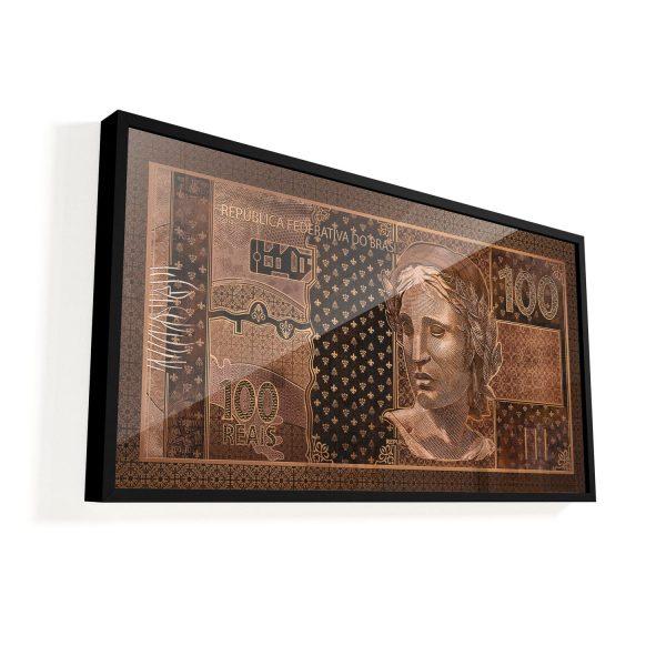 Quadro 100 reais em Bronze vidro