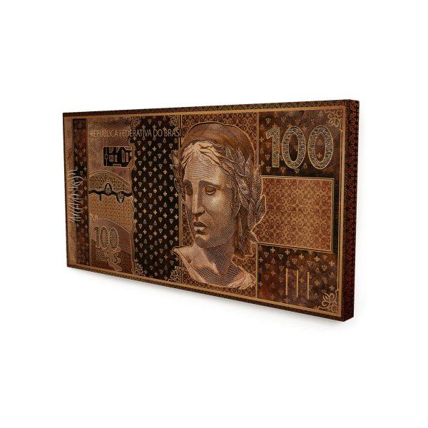 Quadro 100 reais em Bronze sem moldura
