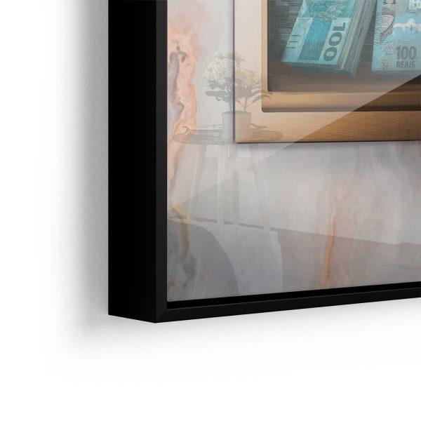 Quadro Meu Cofre de Dinheiro aproximado vidro