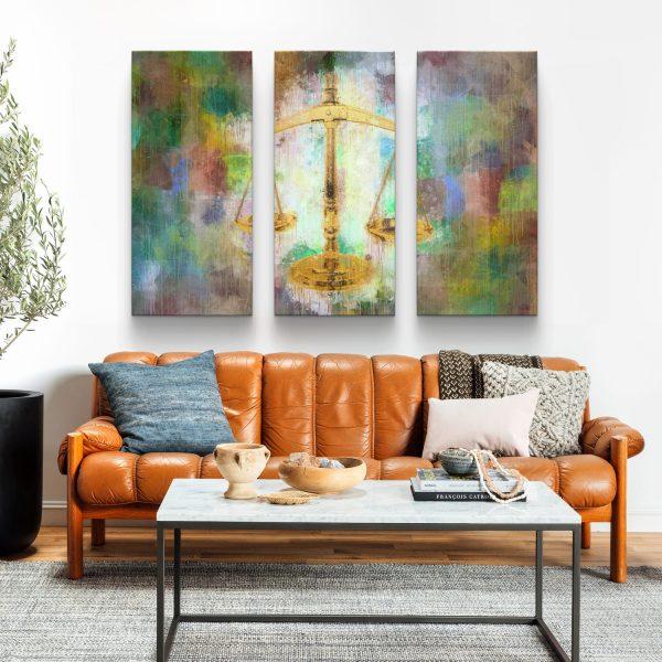 conjunto de 3 peças Balança da Justiça em tela com detalhe na sala