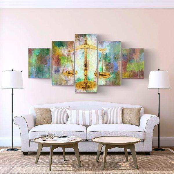 conjunto de 5 peças Balança da Justiça em tela com detalhe na sala