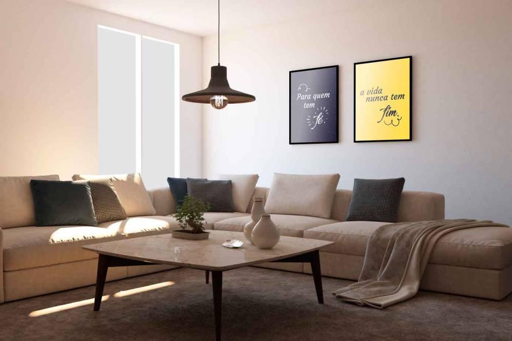 Inspire Transpire Realize em moldura com detalhe na sala quadro em cores preto e amarelo