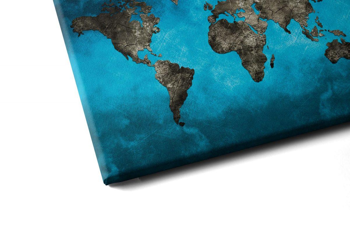 Quadro Mapa Mundi Preto e Azul em tela com detalhe a esquerda