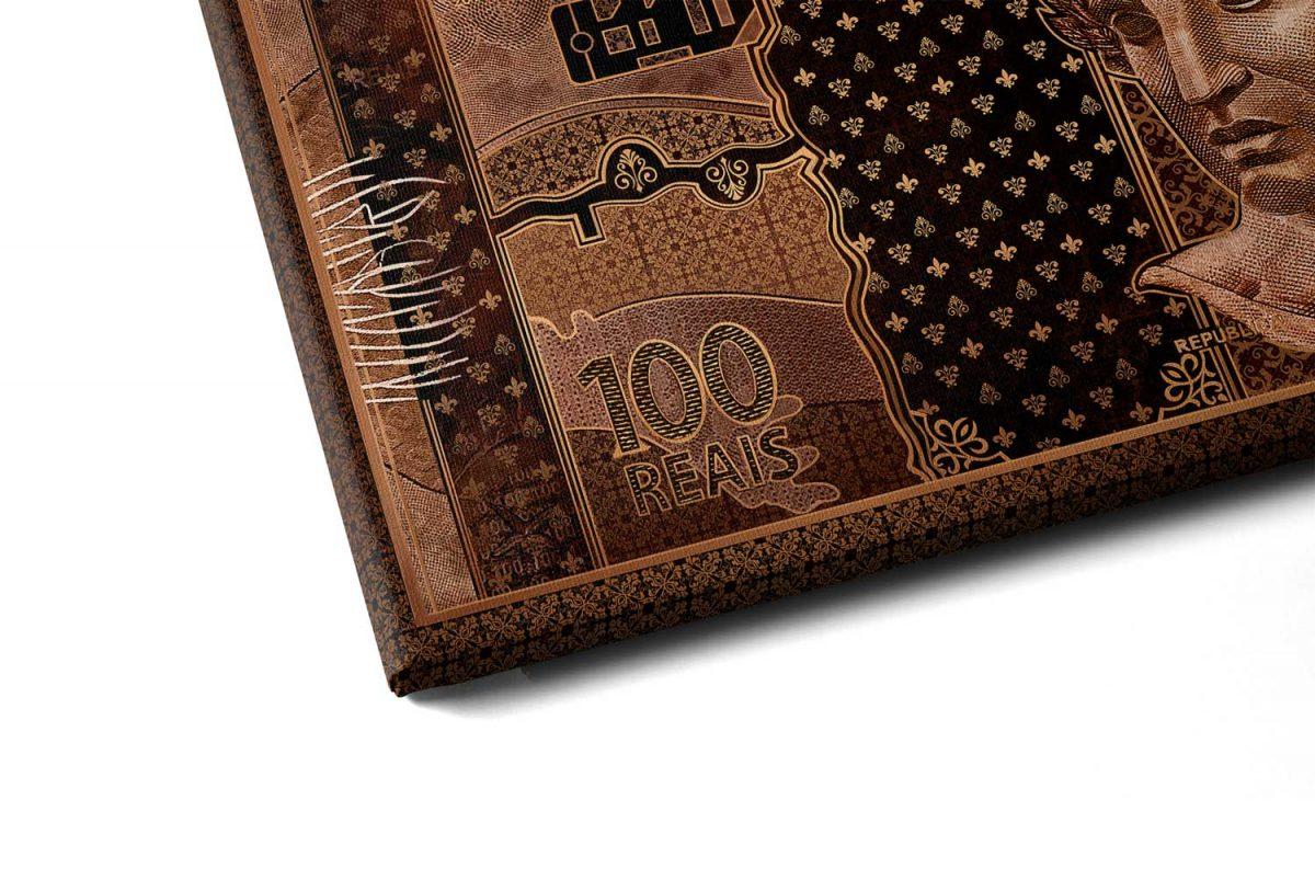 Quadros Decorativos Quadro 100 reais em Bronze em filete com detalhe