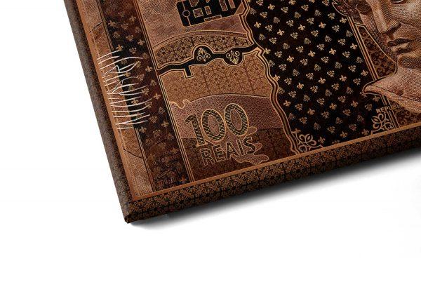 Quadro 100 reais em Bronze em filete com detalhe