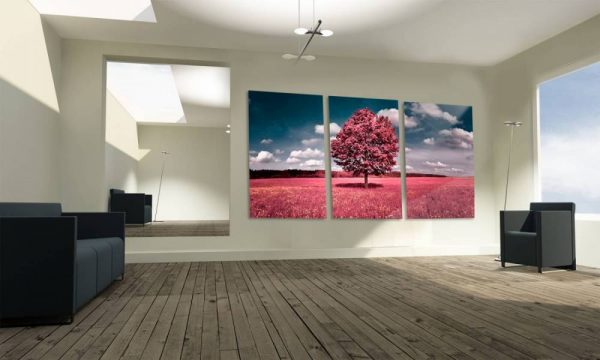 """Conjunto de Quadros """"Árvore Rose do Campo"""" – 3 Peças em tela"""