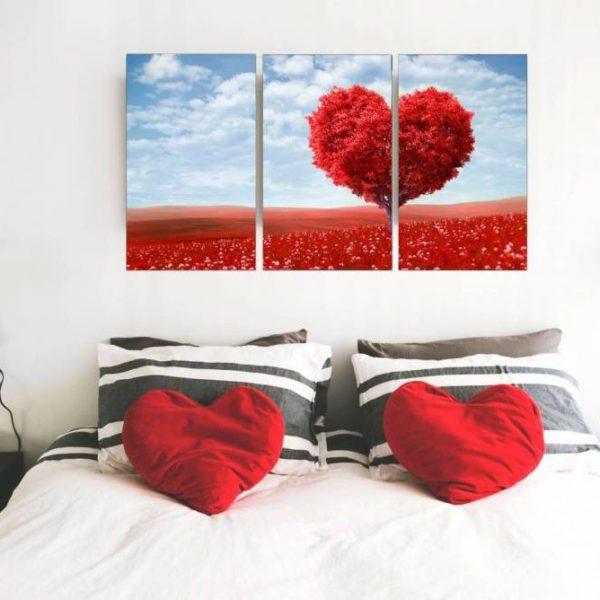 conjunto de quadro caminho florido 3 peças em tela com detalhe no quarto cor rosa