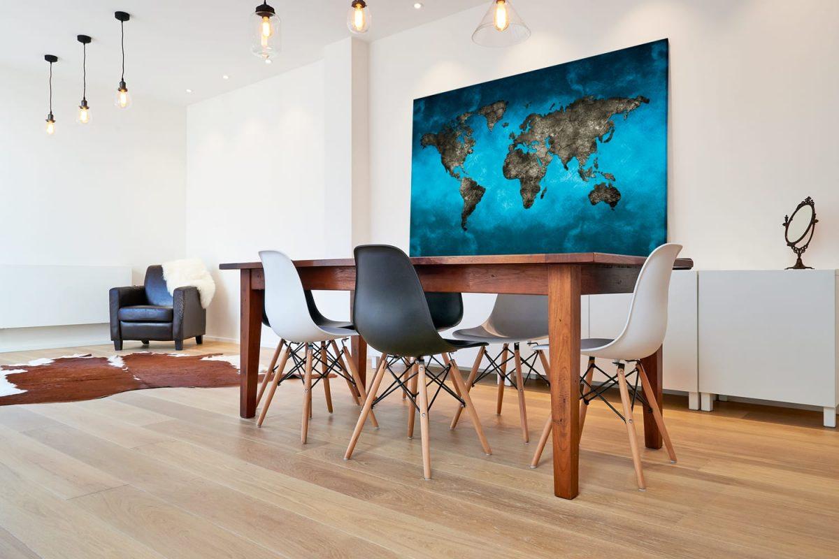 Quadro Mapa Mundi Preto e Azul em tela