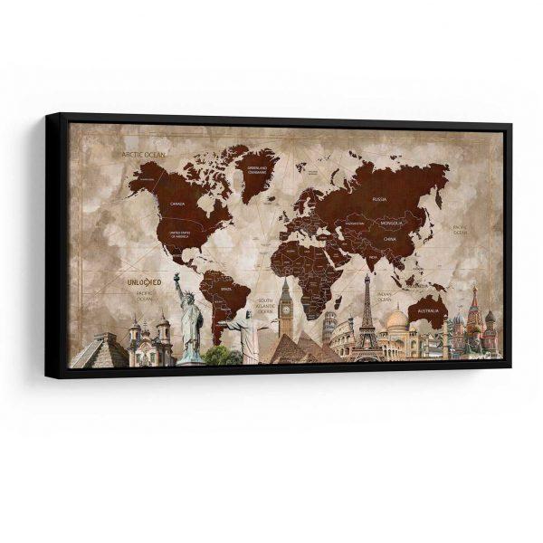 Quadro Mapa Maravilhas do Mundo moldura