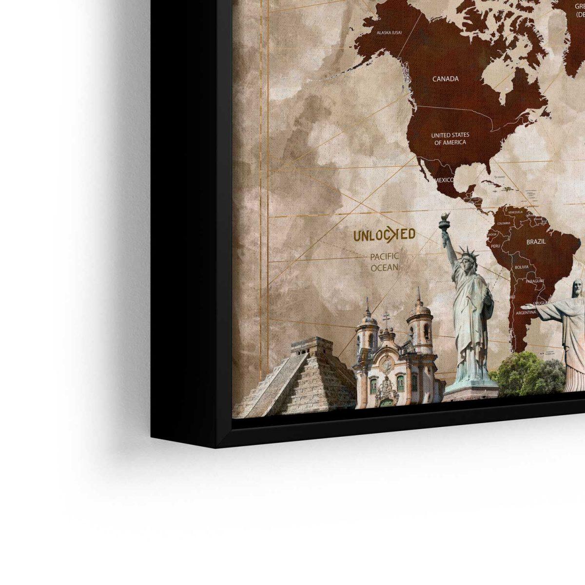 Quadro Mapa Maravilhas do Mundo aproximado moldura