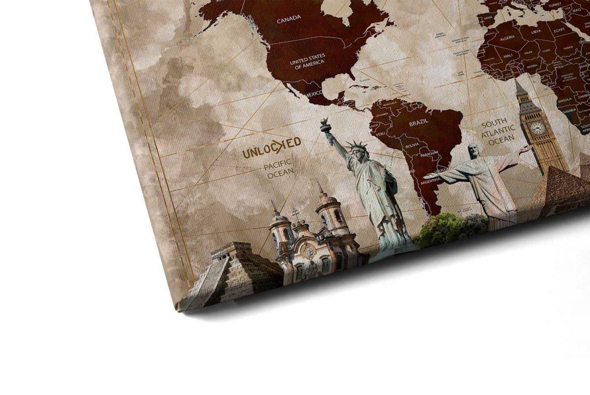 Quadro Mapa Maravilhas do Mundo detalhe