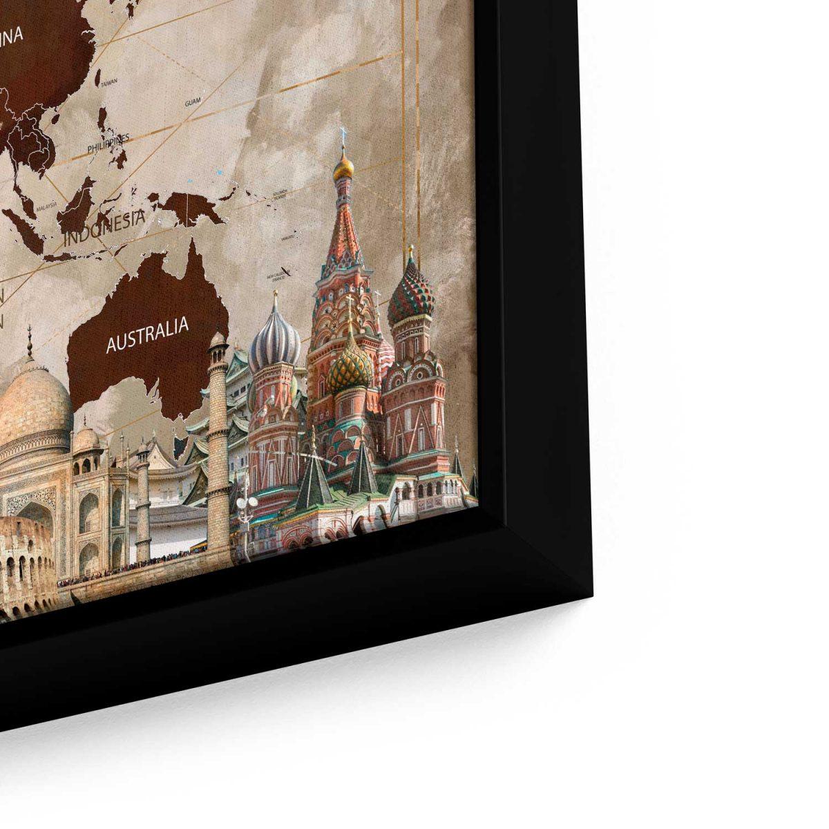Quadro Mapa Maravilhas do Mundo aproximado