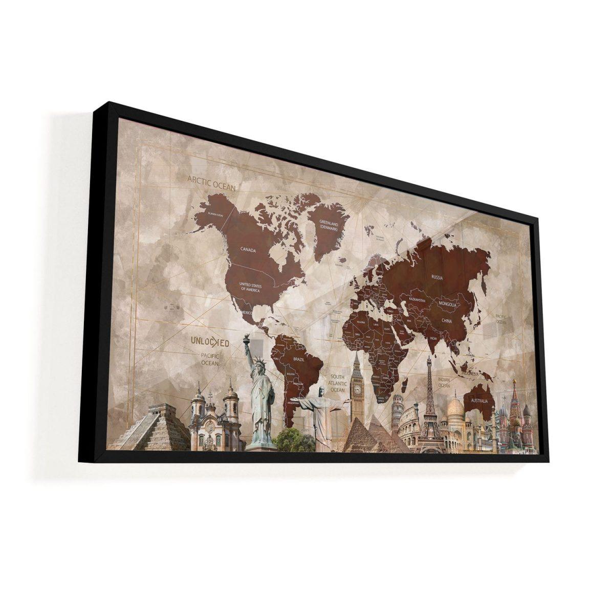 Quadro Mapa Maravilhas do Mundo