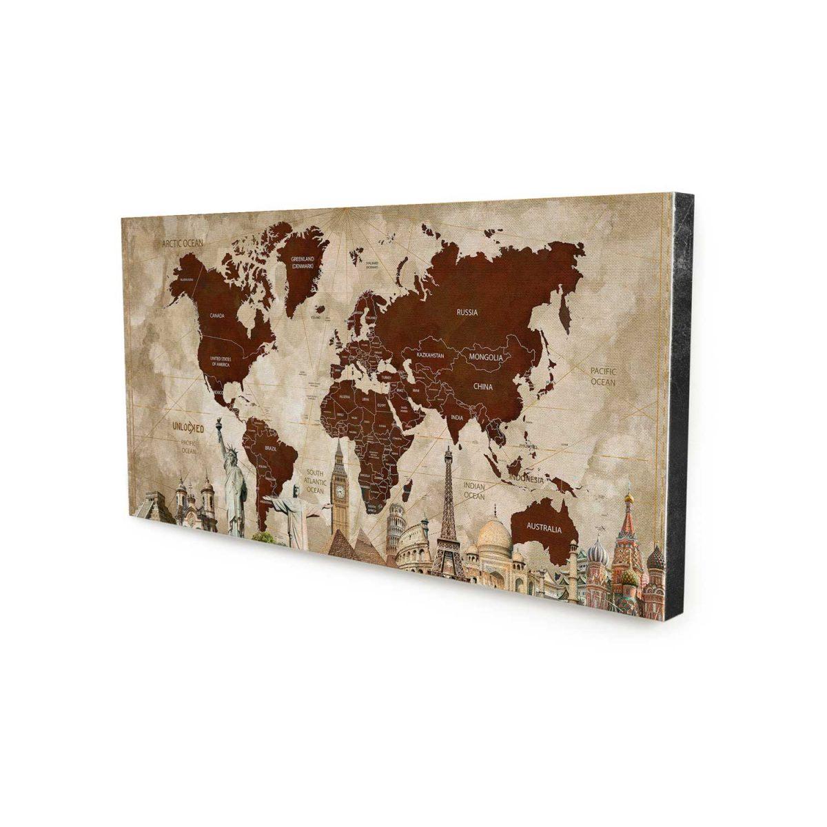 Quadro Mapa Maravilhas do Mundo sem moldura
