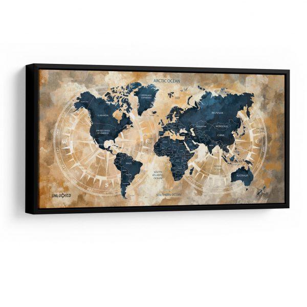 Quadro Mapa Meridiano em filete na parede