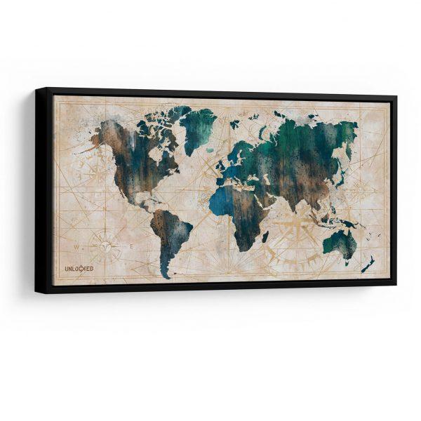 Quadro Mapa Meridiano em filete. acima com detalhe