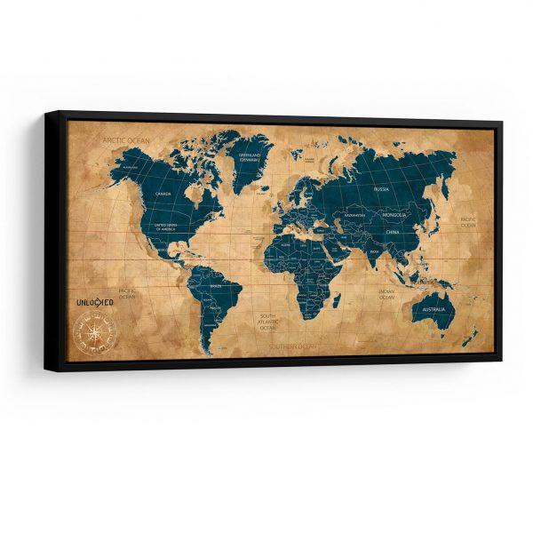 Quadro Mapa Meridiano em filete