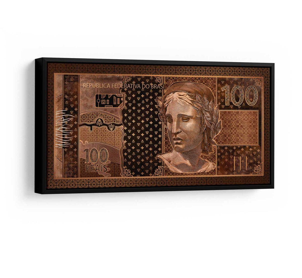 Quadros Decorativos Quadro 100 reais em Bronze em filete