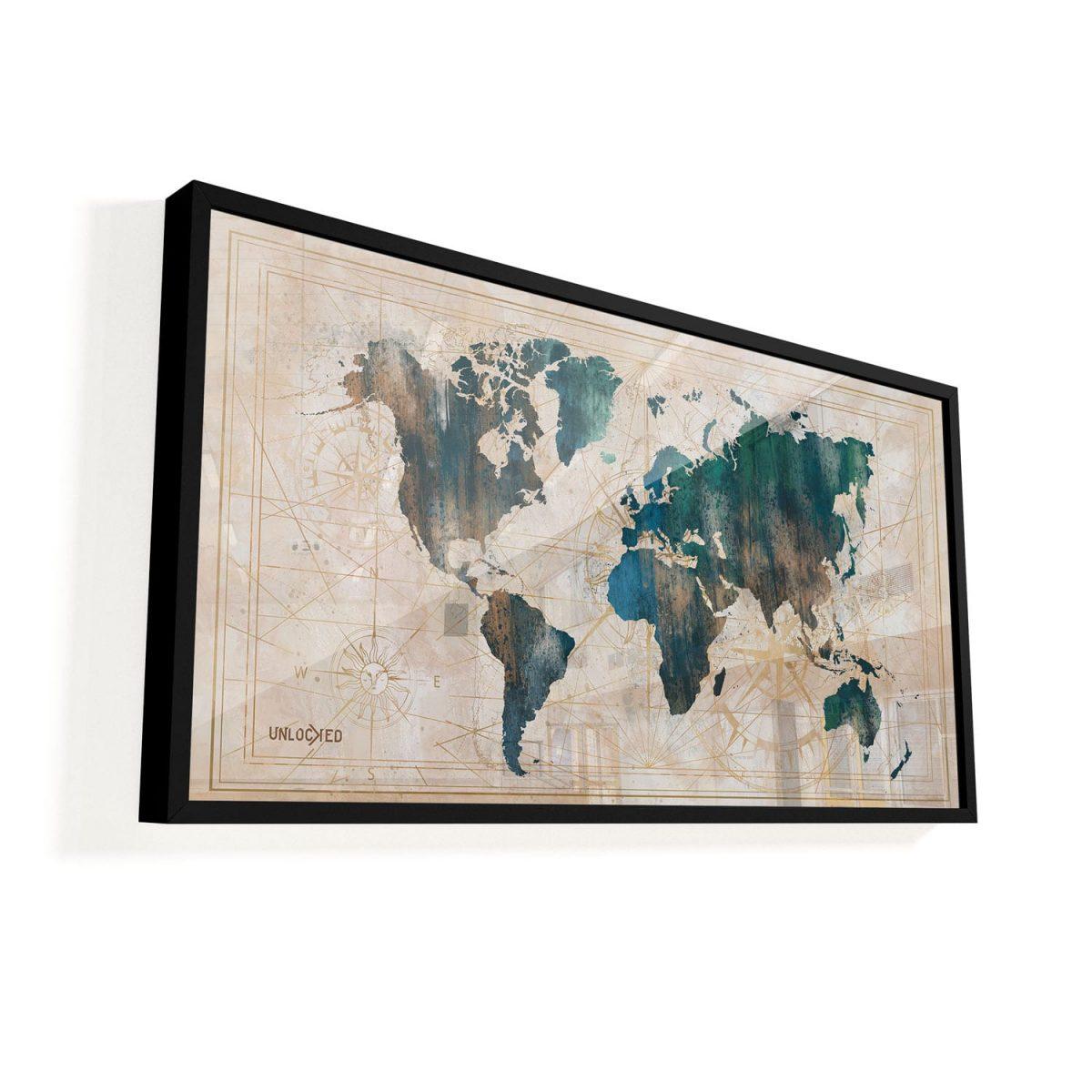 Quadro Mapa Cartográfico vidro