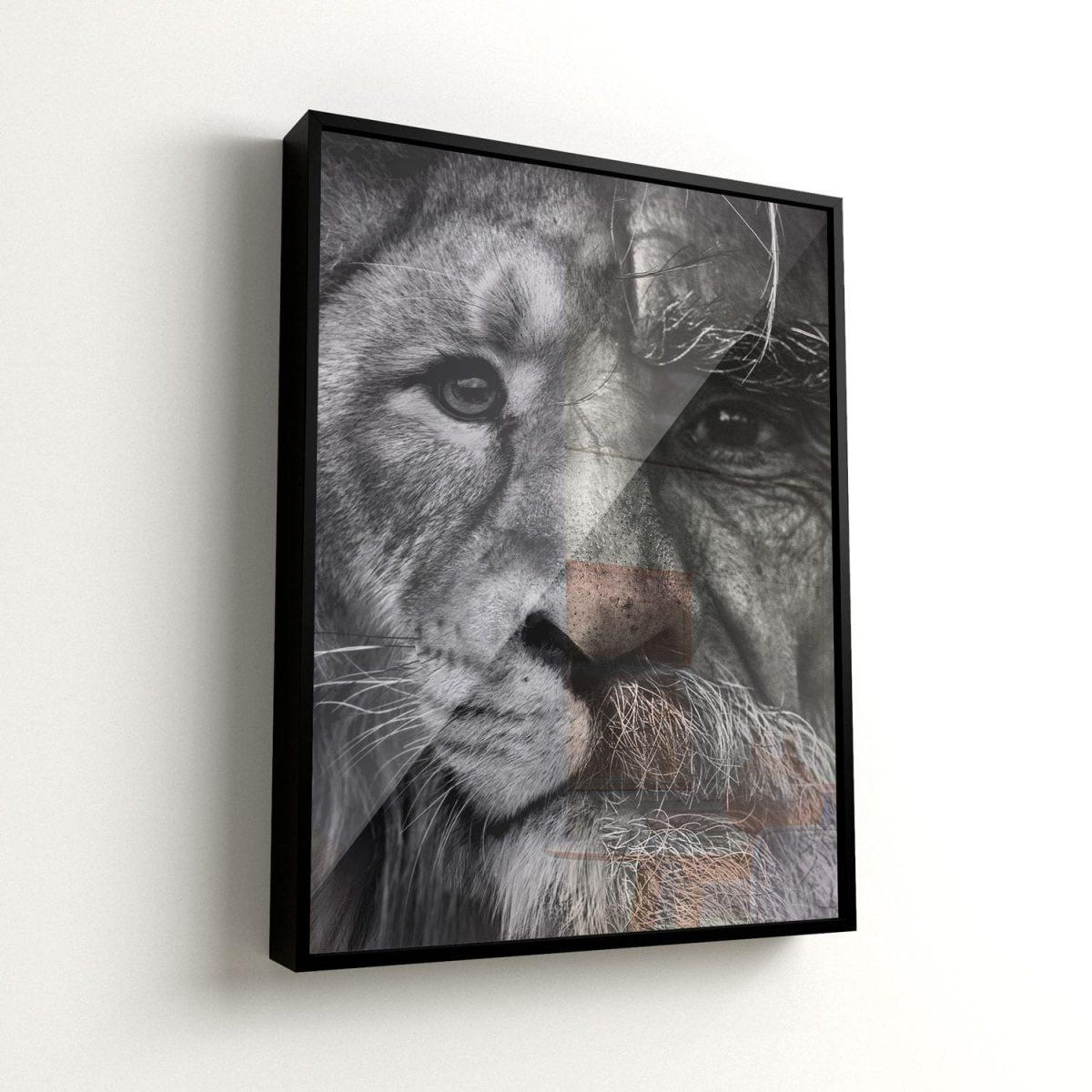 Quadro o Homem e o Leão, o encontro de dois mundos vidro