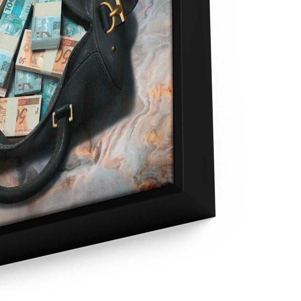 Quadro Bolsa de Dinheiro em moldura com detalhe a esquerda