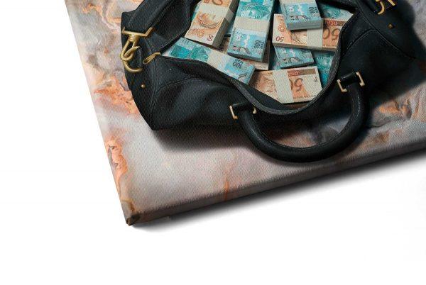 Quadro Bolsa de Dinheiro em tela com detalhe a esquerda