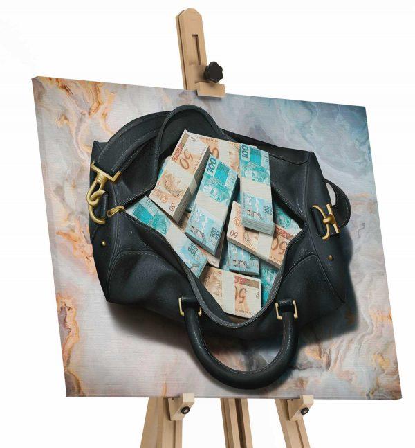 Quadros Decorativos Quadro Bolsa de Dinheiro tela de pintura