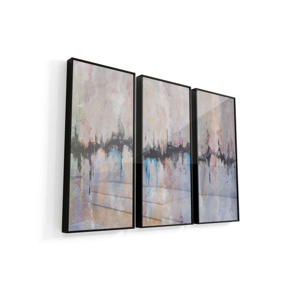 Quadros Decorativos Abstrato Fenda moldura mais vidro 3 Peças