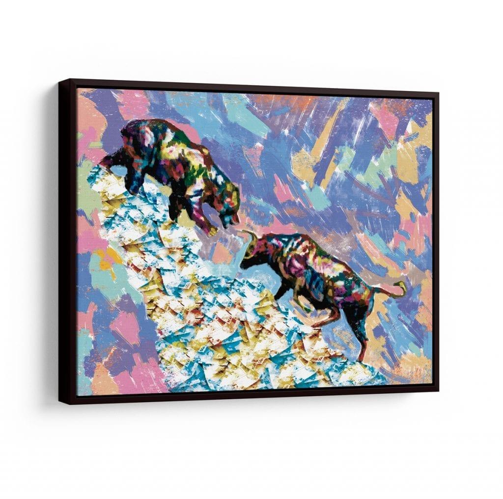 quadro colorido abstrato - Quadro Touro X Urso A Lenda do Mercado Financeiro