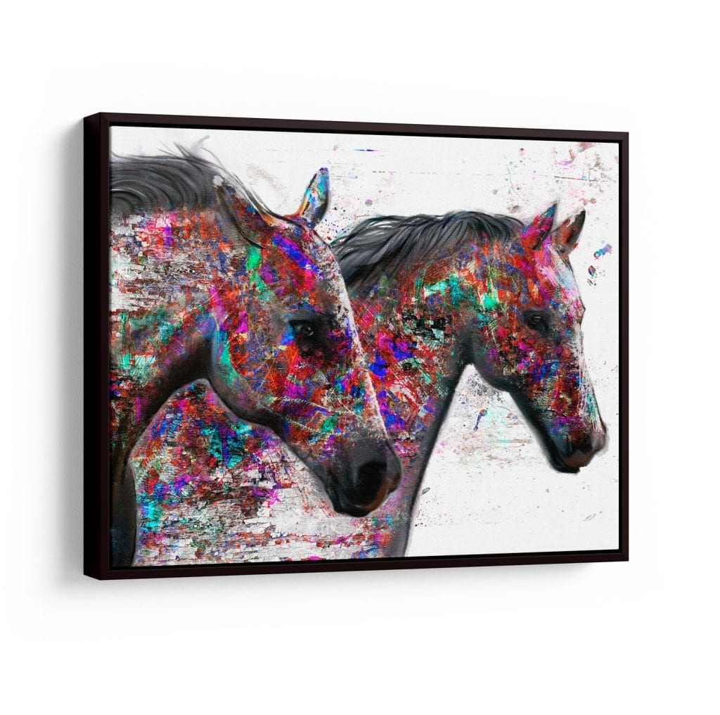 quadro abstrato colorido para sala - quadro cavalos mágicos