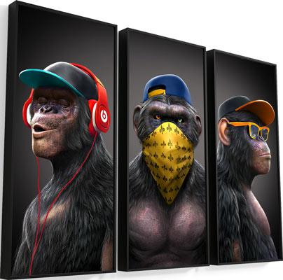 Quadro Gangue dos Macacos 3 Peças