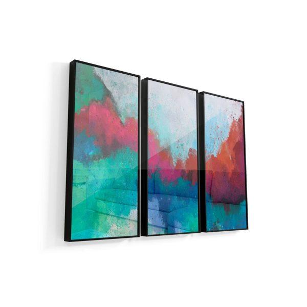 Quadro Abstrato Formas Coloridas moldura mais vidro