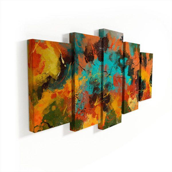 Quadros Decorativos Abstrato Corado 5 Peças