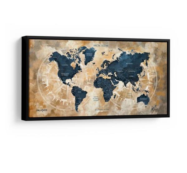 tv e quadros na mesma parede - Quadro Mapa Pelo Mundo