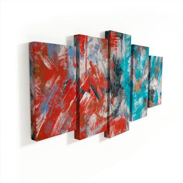Quadros Decorativos Abstrato Pinceladas 5 Peças sem moldura