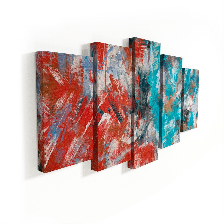 Quadro Abstrato Pinceladas 5 Peças